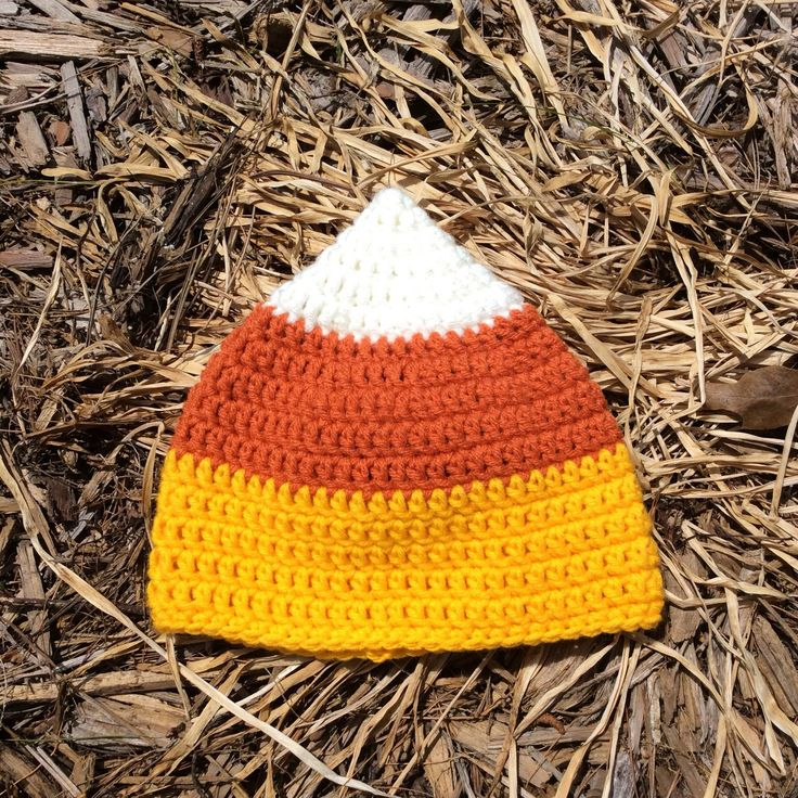 Crochet Candy Corn Hat, Fall Photography Prop, Halloween Photo Prop Outfit by BarberrySparrow on Etsy https://www.etsy.com/listing/526069622/crochet-candy-corn-hat-fall-photography