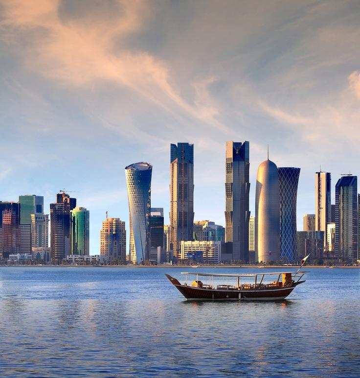 Doha, #Qatar skyline | Photo by @qatarairways http://www.pinterest.com/pin/9359111695975235/