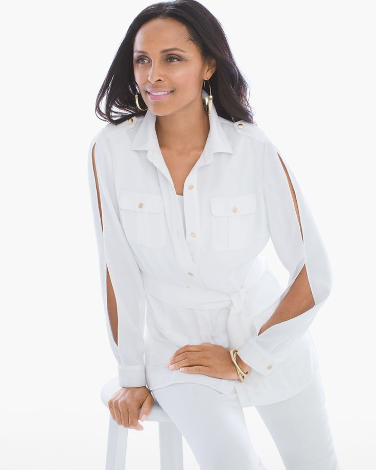 Chico's Women's Cold-Shoulder Utility Jacket, Alabaster, Size: 4 (20/22 XXL)