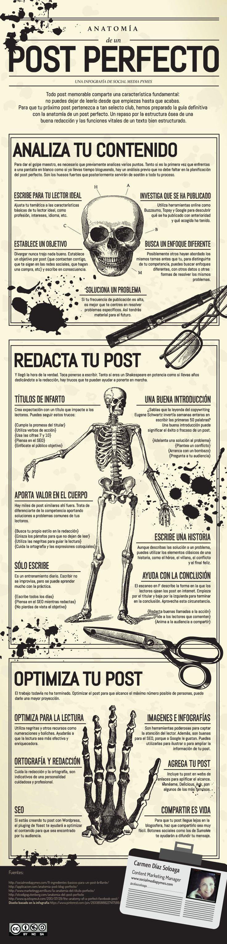Una infografía con la Anatomía del post perfecto.