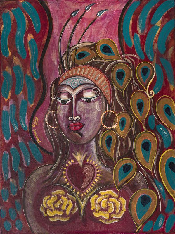 """Peacock Rising"". Painted using Intentional Creativity Method - Acrylic on canvas  ART of Sisterhood"