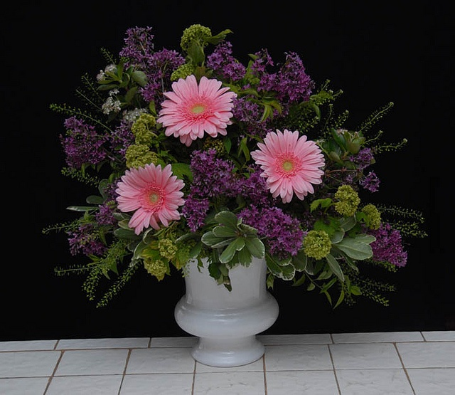 Lilacs, Viburnum and Gerbera  From Rittners Floral School, Boston, Ma. www.floralschool.com