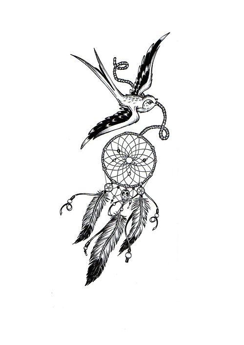 Hirondelle Attrape Reve Dreamcatcher Corde Tatouage