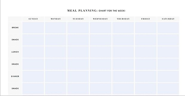 Printable Meal Planning Templates: Nutrition Stripped Weekly Meal Planner