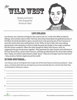 Levi Strauss 3rd grade reading, Worksheets, Fourth grade