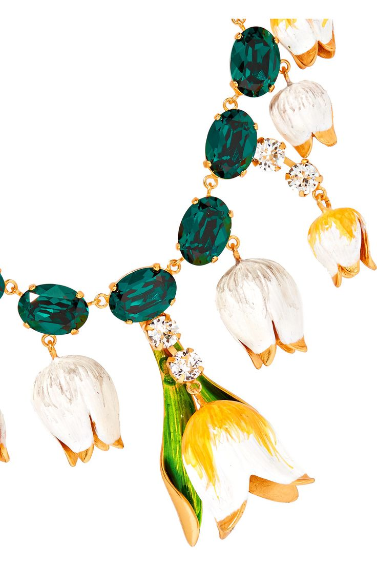 Shop on-sale Dolce & Gabbana Gold-plated, Swarovski crystal and enamel necklace. Browse other discount designer Jewelry & more on The Most Fashionable Fashion Outlet, THE OUTNET.COM