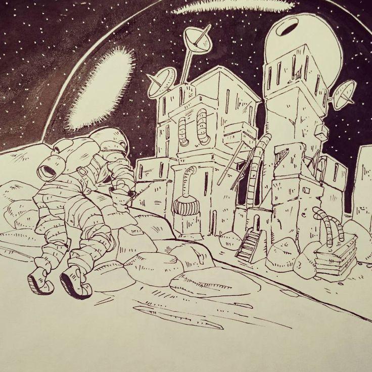 #draw #dibujo #ilustration #ilustracion #doodle #garabato #men #hombre #sketch #sketchbook #blackandwhite #blancoynegro #artoftheday #sketchoftheday #characterdesign #diseñopersonaje #art #arte #comic #astronaut #landscape