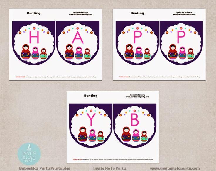 Babushka Happy Birthday Bunting  Invite Me To Party: Babushka / Matryoshka Doll / Russian Doll Birthday Party