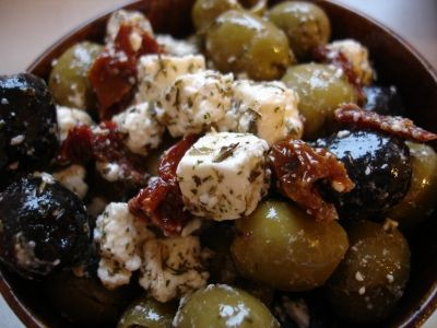 Marinated Olives with Feta.