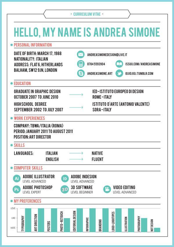 90 best Resume / Curriculum Vitae images on Pinterest | Resume ...