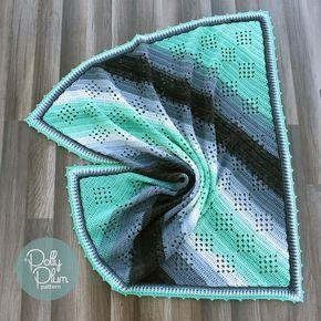Granny in the Sky, #crochet, free pattern, baby blanket, afghan, variegated yarn, yarn cake, #haken, gratis patroon (Engels), baby, deken diagonaal, verloopgaren, garen cake, #haakpatroon