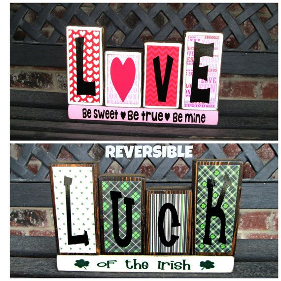 Reversible Valentine's Day/St. Patrick's Day wood blocks