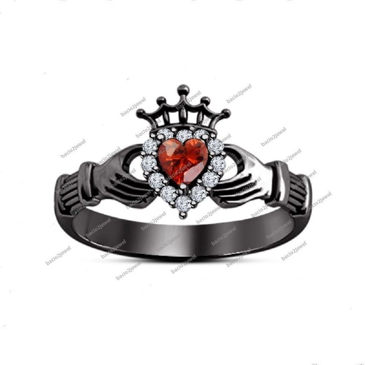 Lab-Created Heart Shape Pink Garnet 14Kt Black Gold Finish Claddagh Crown Ring #Bacio2jewel #CladdaghRing #WeddingEngagementAnniversaryGift