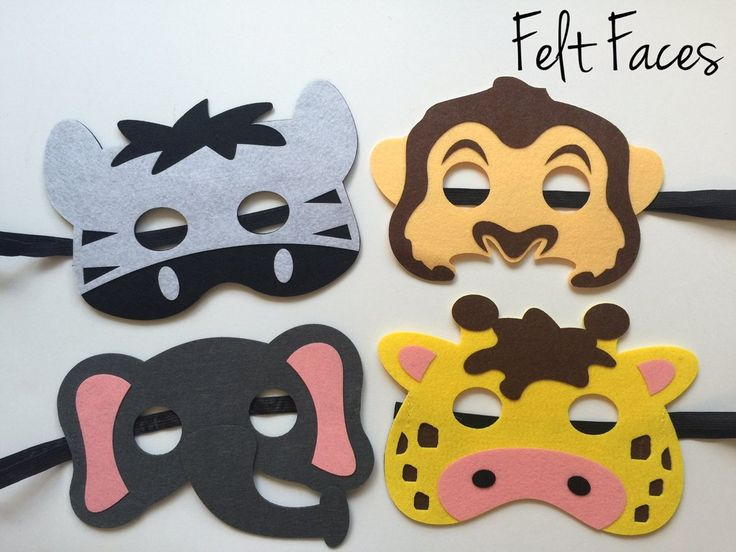 One set of 4 Zoo Animal party masks, one of each style shown in the photo. Each mask is made with premium felt, and has a black elastic band sewn to each side of the back. These adorable party masks a
