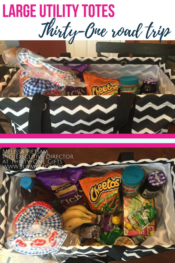 Thirty-One large utility totes are great for road trips, trips to the grocery store, junk in your trunk, and beach bags!