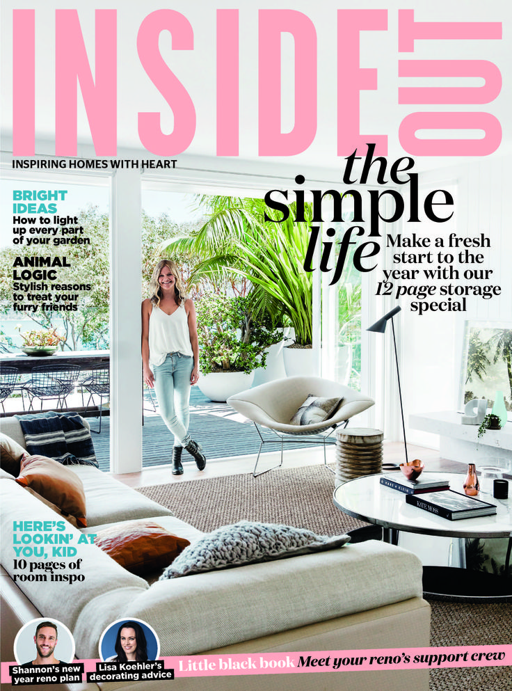 The cover of the January 2017 issue of Inside Out magazine. Styling by Kerrie-Ann Jones. Photography by Maree Homer. Available from newsagents, Zinio, https://au.zinio.com/magazine/Inside-Out-/pr-500646627/cat-cat1680012#/, Google Play, https://play.google.com/store/newsstand/details/Inside_Out?id=CAowu8qZAQ, Apple's Newsstand,https://play.google.com/store/newsstand/details/Inside_Out?id=CAowu8qZAQ, and Nook.