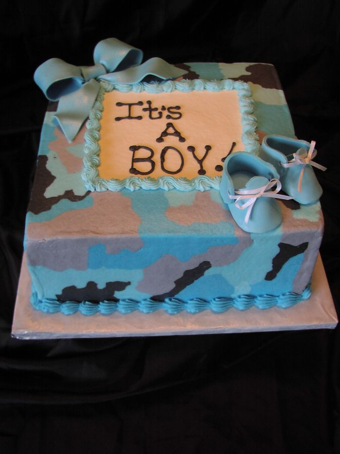 Camo Baby Shower Cakes | ... with Gumpaste bow and Booties.. These camo cakes are fun to make