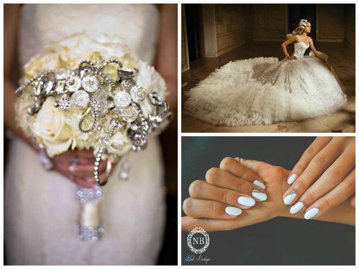 bridal white manicure model