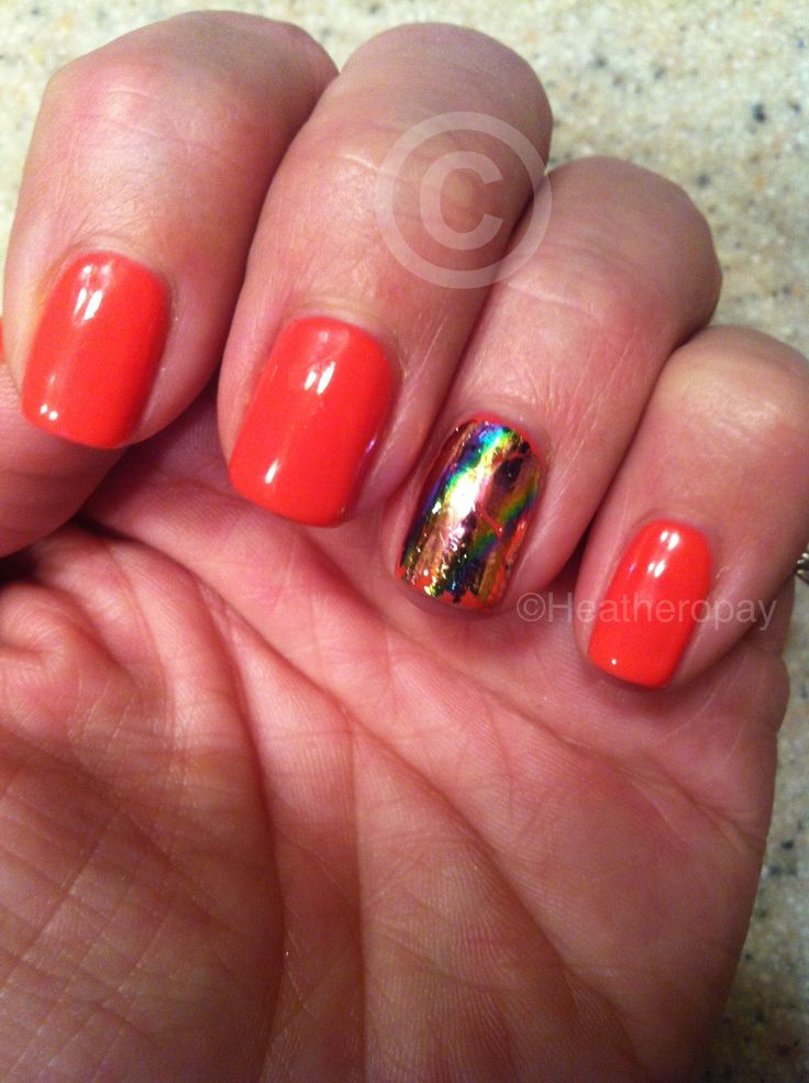 Shellac with foil Nails, Love nails, Shellac