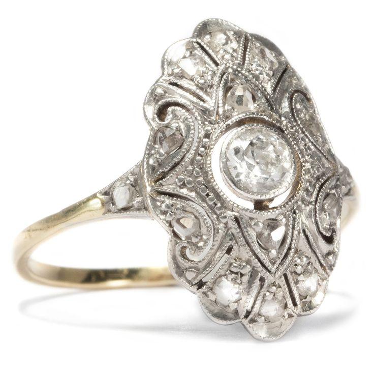 die kunst der schattenfugen feiner ring des art d co aus gold platin diamanten um 1925 von. Black Bedroom Furniture Sets. Home Design Ideas