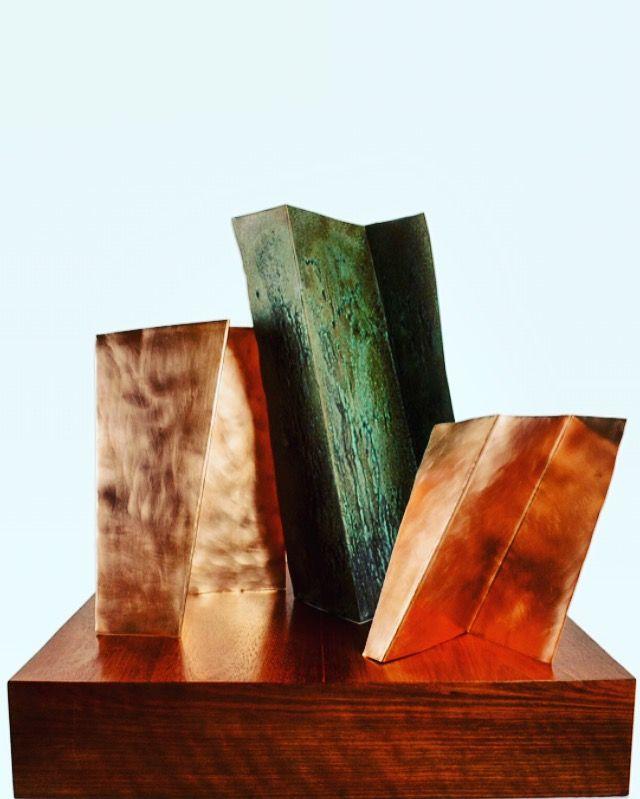 Geometría, patinas cobre, 60x60x60 cm