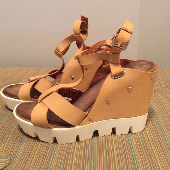 Camel wedge sandals Gold studded camel wedge sandals super comfy in mint condition work once! Size 8.5 Shoes Sandals