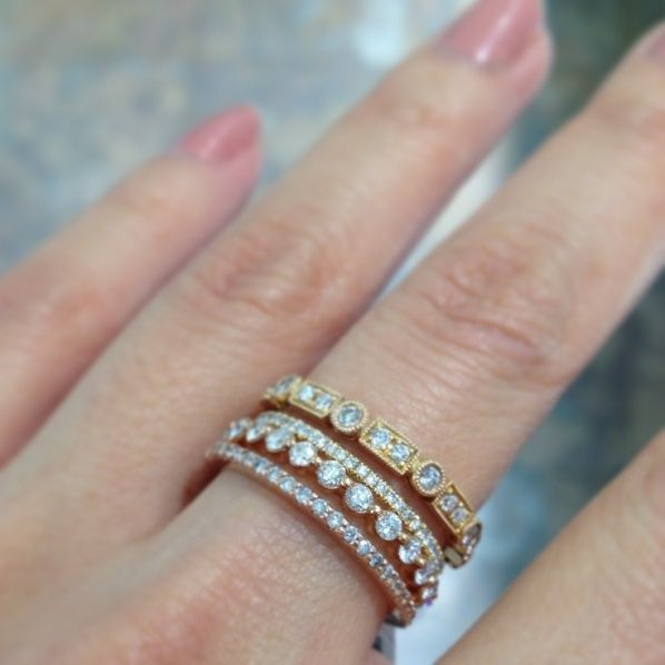 Stacked Mismatched Yellow Rose White Gold Wedding Bands