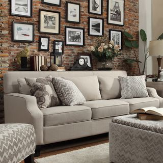 Harrison Beige Grey Linen Sloped Track Arm Sofa | Overstock.com Shopping - The Best Deals on Sofas & Loveseats