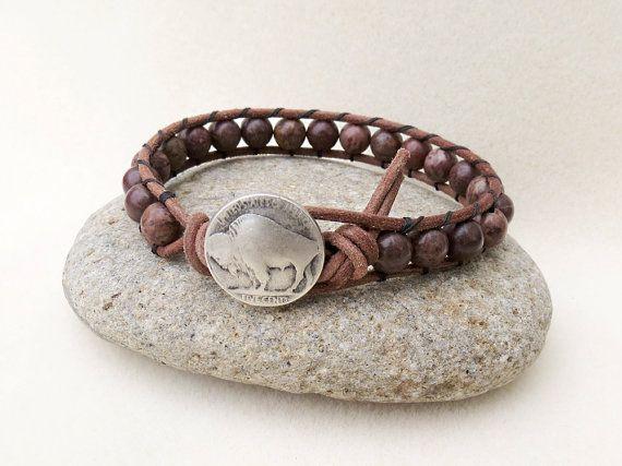 Mens Leather Wrap Bracelet in Crazy Horse Jasper Stones with Buffalo Nickel, Handmade