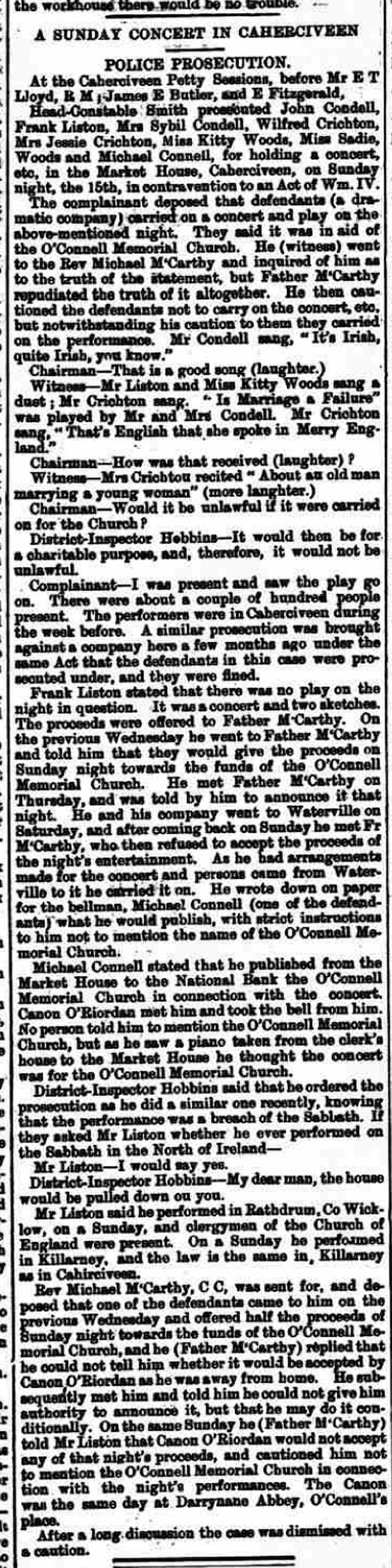 Kerry Evening Post 1st Nov. 1899 Wilfred Crichton and his colleagues in court for performing on a Sunday.