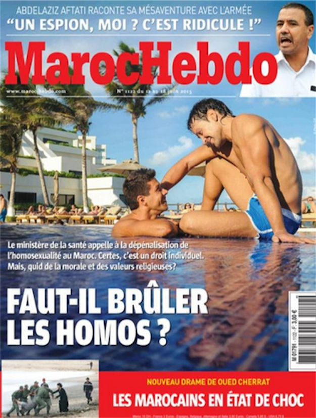 """Magazine Withdraws Cover Asking If We Should """"#Burn"""" #Gay People Updated: Maroc Hebdo has now withdrawn the magazine from sale."""