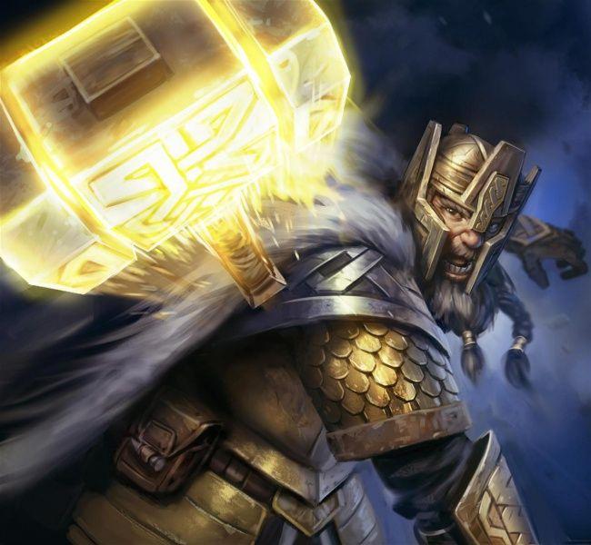 m Dwarf Paladin w magic hammer Thráin