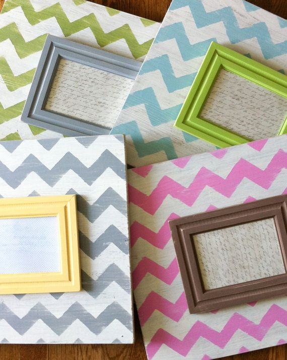 Large Chevron Picture Frame. Custom Frame. by TheArtAndSoulShop