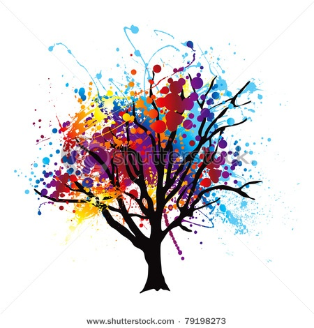 black tree rainbow leaves to paint pinterest
