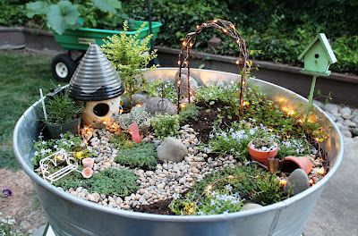 The cutest Fairy Garden! It even has lights on it!******** I have to do one of these mini fairy garden things!***********