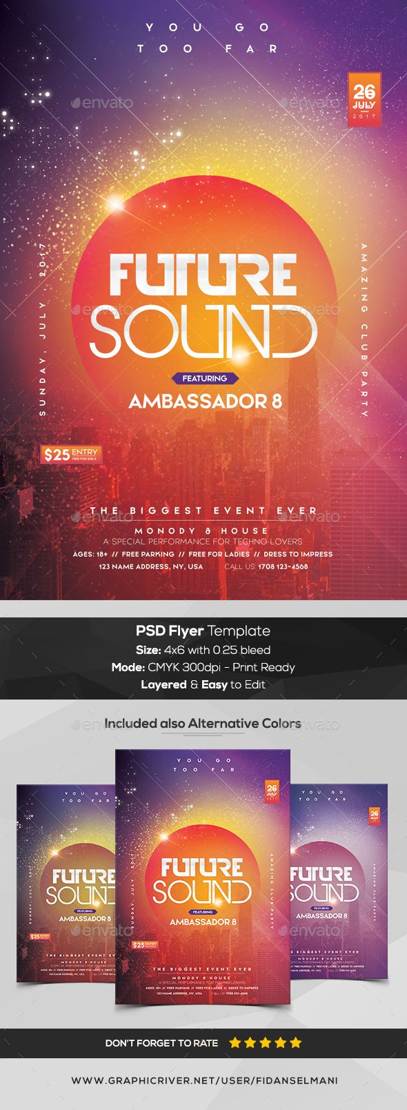 Future Beat - PSD Flyer Template - Clubs & Parties Events