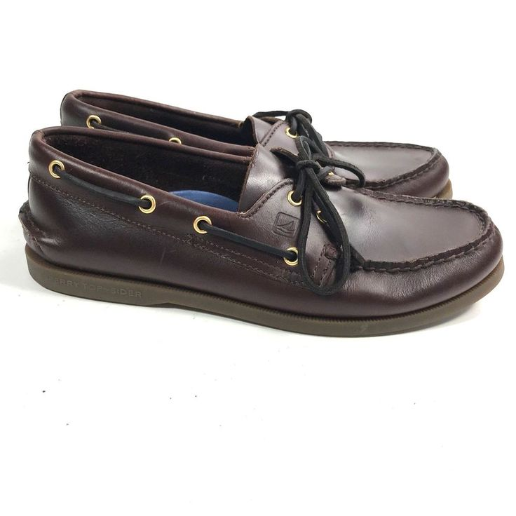 SPERRY TOP SIDER MENS BOAT SHOE GOLD CUP A/O 2-EYE Brown SIZE 10 #SperryTopSider #BoatShoes