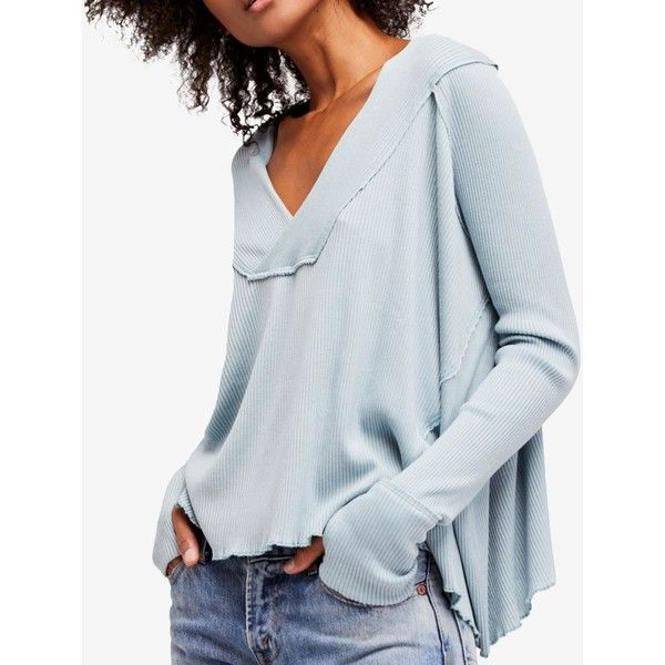 Free People Oceanview Slouchy Top ($68) ❤ liked on Polyvore featuring tops, tunics, mint, mint green top, oversized tops, slouchy tops, oversized tunic and mint green tunic