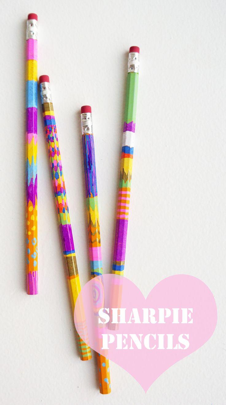 Great DIY stocking stuffer idea: Neon sharpie painted pencils