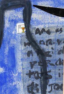 Mail-art: Gabriela Mistral y Violeta Parra, obra del artista Agustín Calvo Galán.
