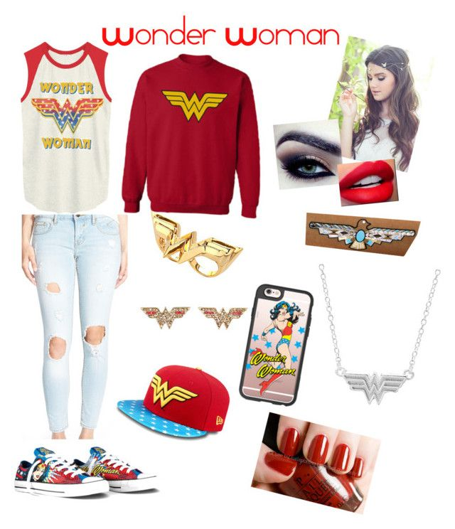 """Wonder Woman"" by reaperchick ❤ liked on Polyvore featuring Noir, Casetify, Junk Food Clothing, Converse, Vigoss and Flash Tattoos"