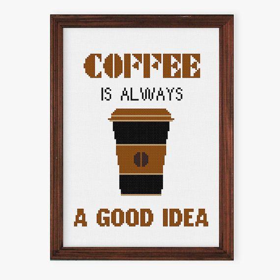 Koffie offerte cross stitch patroon | Moderne geteld cross stitch | Grappige koffie grafiek | gemakkelijk cross stitch pdf | Keuken cross stitch ontwerp