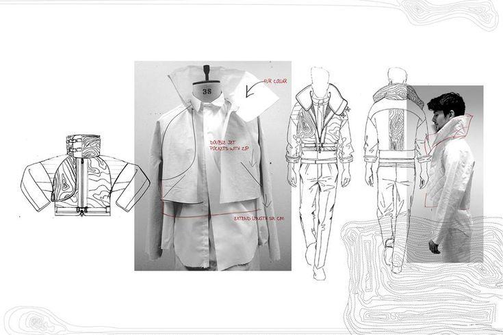 Fashion Portfolio - fashion design drawings, jacket development; fashion sketchbook