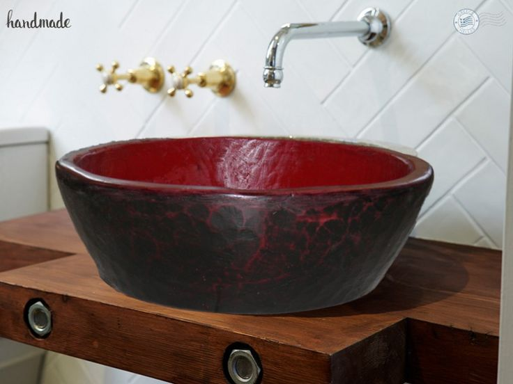 Glafki lava handmade bicolor washbasin bathroom offers, dimensions 44 x 14.5 cm Is Greek products and producers from Studio Travertino