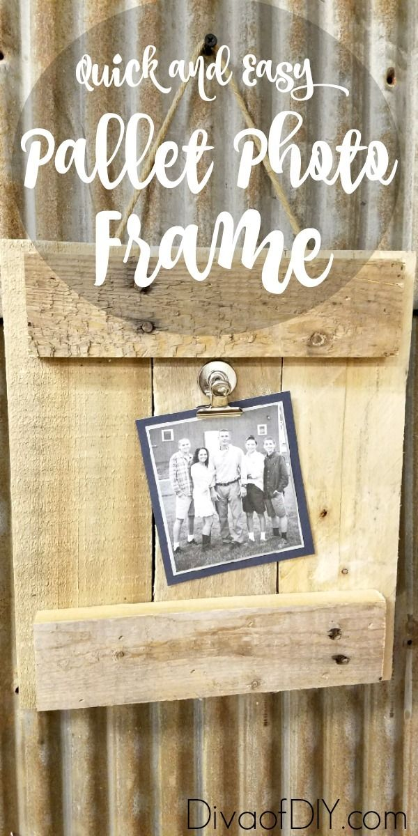 Picture frame ideas that are great for gifts and basically free! This picture frame diy is made out of pallet wood. Great farmhouse style decorating project http://divaofdiy.com/diy-picture-frame-pallet-wood/