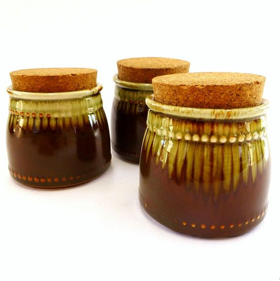 3 x Small Vintage Crown Lynn 'country fair' jars with original cork, made in Crown Lynn's Titian factory, late 1970's.