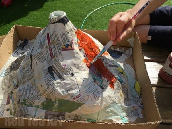 How to make a papier mache volcano for science fair - painting