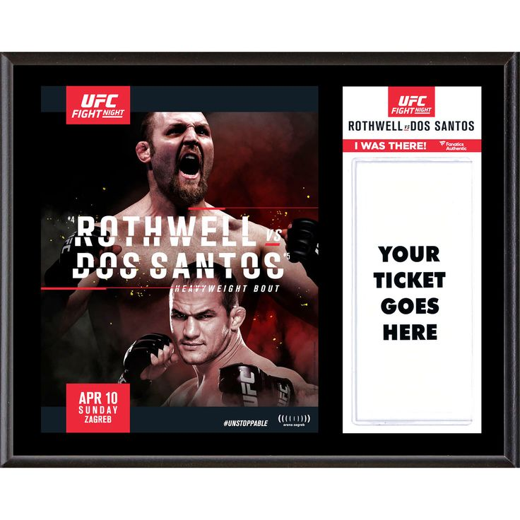 "Fanatics Authentic UFC Fight Ben Rothwell vs. Junior Dos Santos Dueling ""I Was There"" 12"" x 15"" Sublimated Plaque - $31.99"