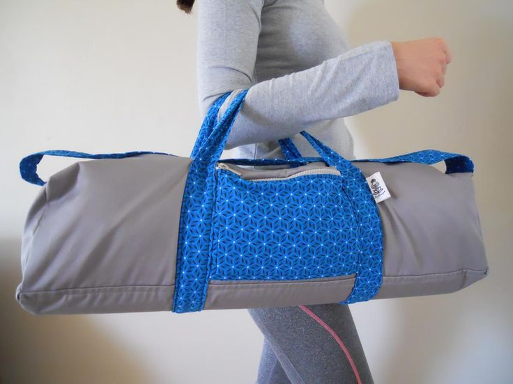 Shweshwe blue and grey yoga bag