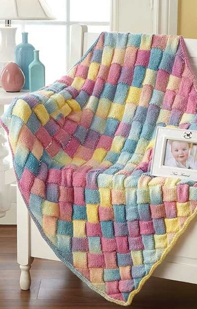Knitting Pattern for Rainbow Entrelac Baby Blanket - #ad One of 9 patterns in Dreamy Baby Wraps | See more pics at LeisureArts.com tba